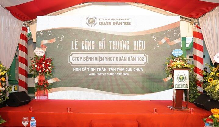 Buổi lễ công bố thương hiệu CTCP Bệnh viện YHCT Quân dân 102 chính thức diễn ra vào sáng ngày 27/09