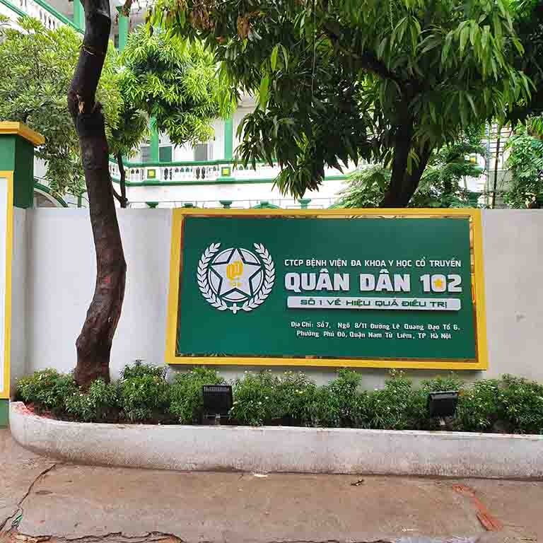 Bệnh viện YHCT Xương khớp Quân dân 102 - trực thuộc bệnh viện đa khoa YHCT Quân dân 102