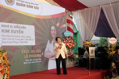 Nghệ sĩ Kim Xuyến chia sẻ về căn bệnh viêm xoang từng mắc tại Lễ công bố Bệnh viện Quân Dân 102
