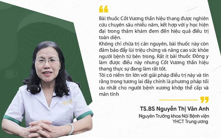 Tiến sĩ, Bác sĩ Nguyễn Thị Vân Anh đánh giá tích cực về hiệu quả bài thuốc