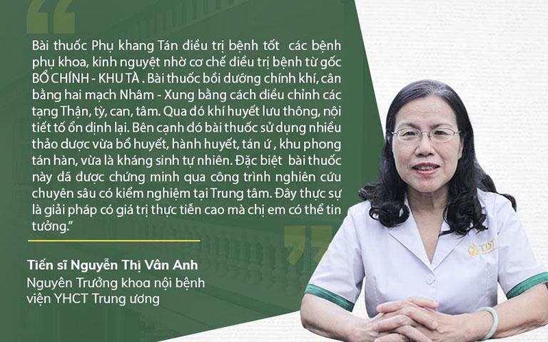 Bác sĩ Vân Anh nhận xét về giải pháp chữa phụ khoa của Trun tâm Phụ Khoa Đông y