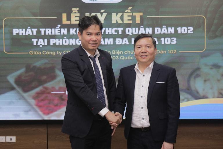 Ông Nguyễn Văn Bằng (Chủ tích HĐQT Vietmecgroup) và ông Lê Quốc Tuấn (Chủ tịch HĐQT Công ty TNHH 103 Quốc tế)