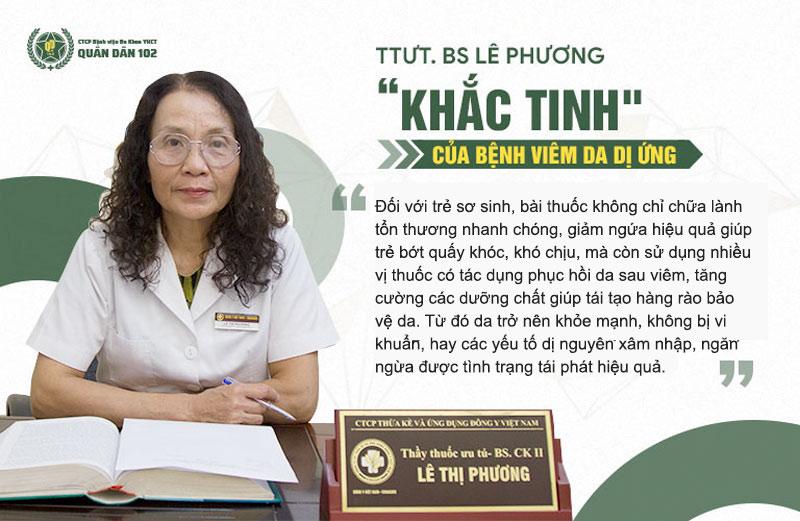 Bác sĩ Lê Phương - GĐ Chuyên môn Tổ hợp y tế Quân dân 102 chia sẻ về công dụng của bài thuốc viêm da dị ứng