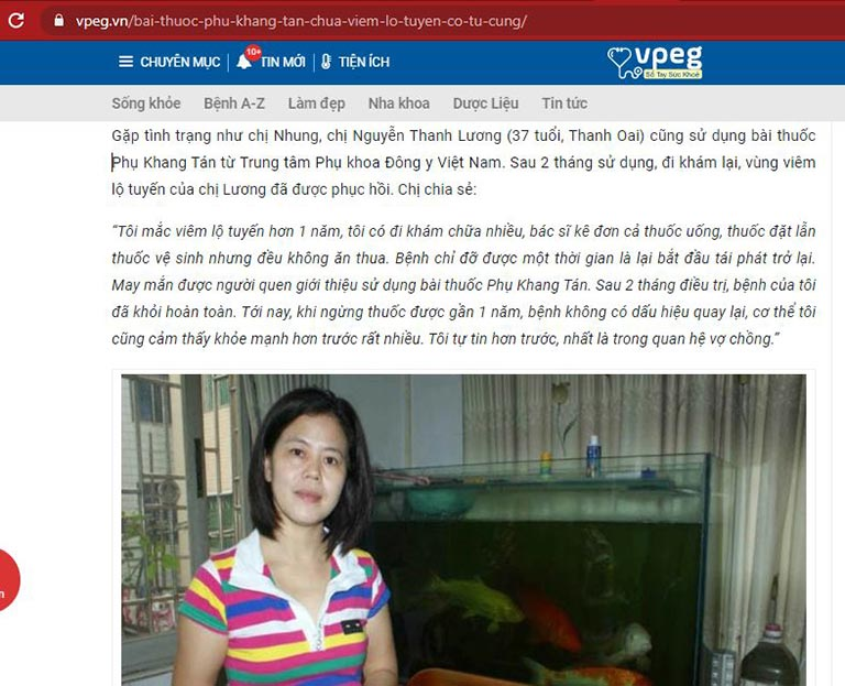 Phản hồi của bệnh nhan Thanh Lương về Phụ Khang Tán trên VPeg