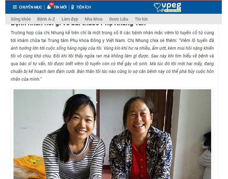 Phản hồi của bệnh nhân chữa viêm lộ tuyến bằng Phụ Khang Tán trên Sổ tay Sức khỏe Vpeg