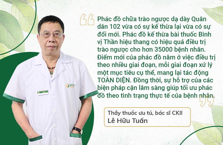 Bác sĩ Lê Hữu Tuấn đánh giá cao phác đồ trào ngược Quân Dân 102