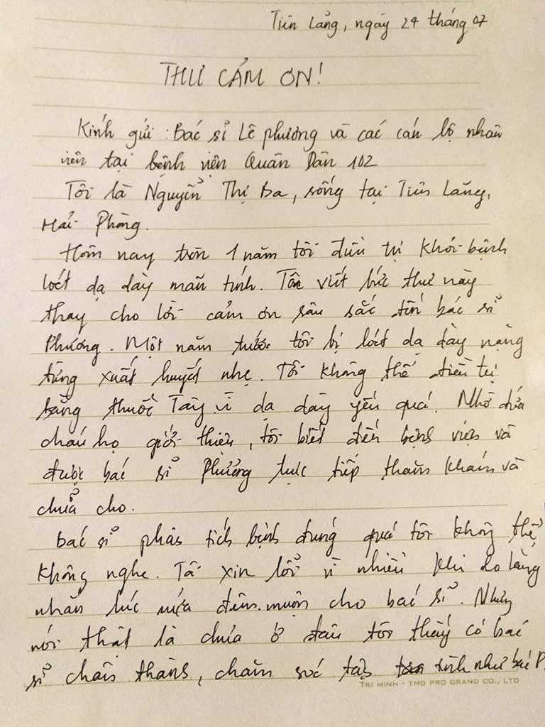 Bệnh nhân viết thư cảm ơn bác sĩ Lê Phương
