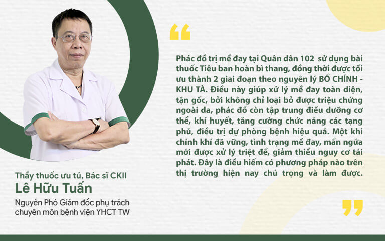 Thầy thuốc Lê Hữu Tuấn nhận định về phác đồ trị mề đay tại Quân dân 102