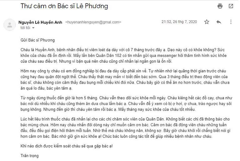Bệnh nhân Kiều Anh gửi email cảm ơn bác sĩ Lê Phương sau khi đã chữa khỏi bệnh dạ dày
