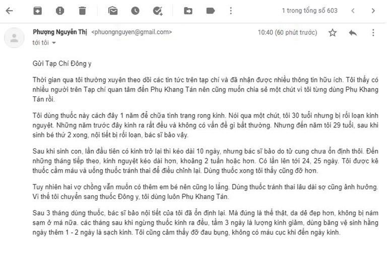 Email review của bệnh nhân Nguyễn Thị Phượng về Phụ Khang Tán chữa rong kinh