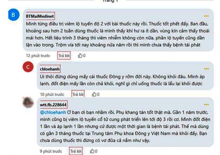Những bình luận chia sẻ khẳng định Phụ Khang Tán chữa viêm lộ tuyến hiệu quả trên webtretho