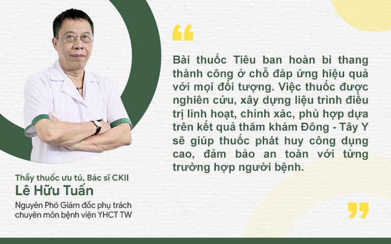 Tiêu ban hoàn bì thang được thầy thuốc Lê Hữu Tuấn đánh giá cao