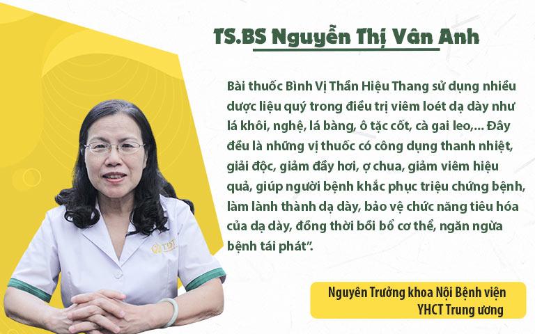 TS. BS Nguyễn Thị Vân Anh đánh giá cao hiệu quả điều trị của bài thuốc Bình Vị Thần Hiệu Thang
