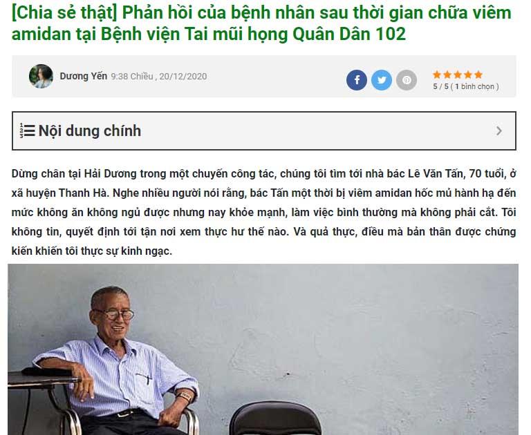 Bác Lê Văn Tấn từng chữa khỏi viêm amidan tại Quân dân 102
