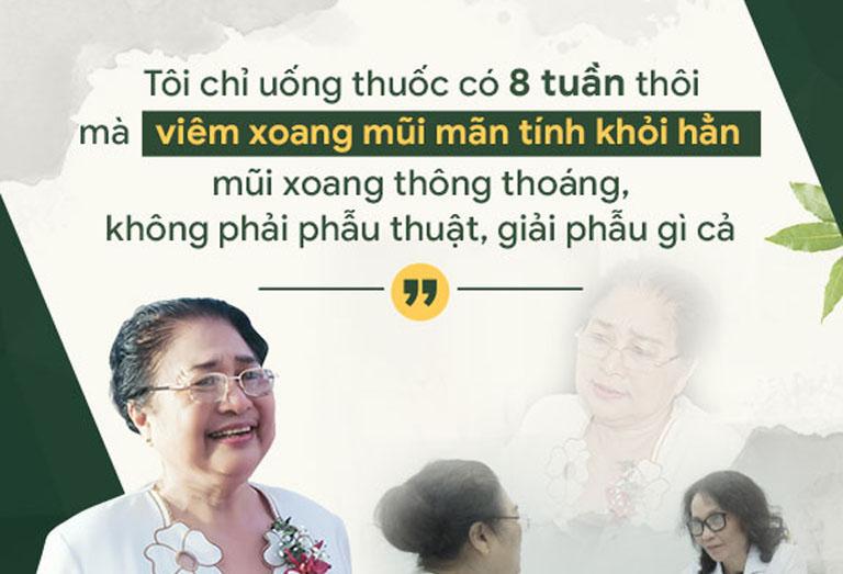 Nghệ sĩ Kim Xuyến chữa khỏi bệnh viêm xoang nhờ Tiêu xoang linh dược thang của Bệnh viện Quân dân 102